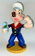 Popeye W/spinach Can And Pipe Cast Iron Bank Figurine 9 Heavy Door Stop