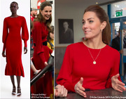 Sold Out Zara Red Ribbed Knit Dress With Puff Sleeves Kate Middleton S Small Uk8