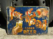 Rare Early Fox Head Lager Beer 20 X 14 Gas And Oil Store Embossed Tin Sign