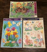 3 Easter Window Color Glings 1 Glitter Bunny Rabbit Eggs Spring Flowers Large