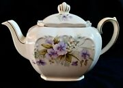 Vintage Signed Sadler England Cubed Teapot 1930and039s Blue Pansy With Gold Trim