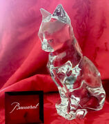 Flawless Exquisite Baccarat France Art Crystal Sitting Cat Figurine 9andrdquo Sculpture