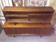 Dyrlund Teak Credenza W/tambour Sliding Doors And Matching Glass Front Hutch