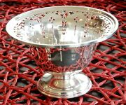 Birks Sterling Footed Bowl - Pierced Open Work Candy Dish 3 1/4 Tall X 5 Wide