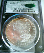 1881-s Rainbow Toned Morgan Dollarpcgs Ms66 Cac Doily Holdercolorful Reverse