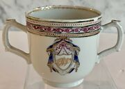 Antique Chinese Export Double Handled Monogram Cup Ermine Mantling 18th Century