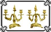 Vintage French Pair Of Louis Xv Gilt Bronze Rocaille Candlesticks