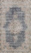 Antique Muted Navy Blue Kirman Distressed Area Rug Evenly Low Pile Wool 5'x8'