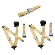 For Fiat 500 47-48 3-point Airplane Buckle Retractable Bench Seat Belts Tan