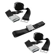 For Dodge D50 79-80 2-point Airplane Buckle Retractable Bench Seat Belts Black