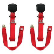 For Jeep Cj7 76-86 3-point Standard Buckle Retractable Bucket Seat Belts, Red