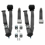 3-point Airplane Buckle Retractable Bucket Seat Belts W Bracketry Charcoal