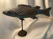 Molded Copper Patina Fish Large On Brass Stand Weathervane