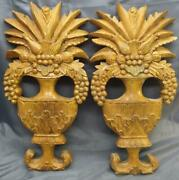 Pair Of 2 Two Wood Carved Flower Fruit Urn Vases Wall Plaque Set Art Carvings