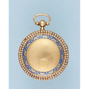 Pearl Set Gold And Enamel Pendant Watch