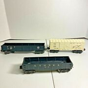Lionel O Lot Of Three Rolling Stock Cars Including Frisco Box Car
