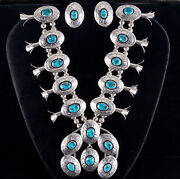 Vintage Sterling Silver Navajo Sleeping Beauty Turquoise Squash Blossom 65.7ctw