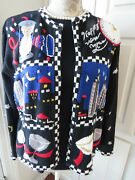 Size M - New Years Eve Cardigan Sweater By Seque - Champagne Glasses Hour Glass