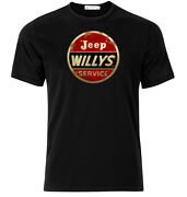 Jeep Willys Service - Graphic Cotton T Shirt Short And Long Sleeve