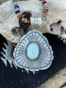 Navajo Dry Creek Turquoise Stone And Sterling Silver Pendant Signed