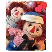 Vintage Handmade Raggedy Ann And Andy Dolls 19andrdquo