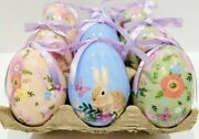 New 9 Pc Primitive Vintage Style Paper Mache Easter Bunny Hanging Eggs Ornaments