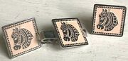 Vintage Swank Cufflink And Tie Clasp Set Silver Tone Horsehead On Light Pink Bkg