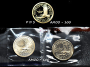 2005 P D S Proof And P And D Sacagawea Native American Dollar 3 Coin Set
