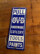 Vintage Our Very Best Porcelain Door Push Sign Ovb Hardware Cutlery Tools