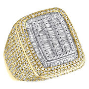 14k Yellow Gold Baguette Diamond Rectangle Pillow Pinky Ring 21mm Mens Band 2 Ct