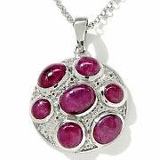 Hsn Carlo Viani 12.31ct Ruby And Topaz Sterling Cabochon Pendant With Chain