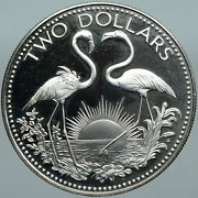 1974 The Bahamas Islands Two Flamingos Vintage Proof Silver 2 Dollar Coin I88441
