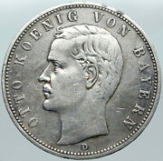 1902 Germany Bavaria Ruled By Otto I W Eagle Antique Silver 5 Marks Coin I88449