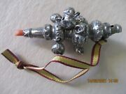 Antique Silver Baby Rattle Teether Bells Whistle Coral