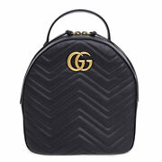 Pre-owned 476671 Gg Marmont Backpack Black Leather Free Shipping