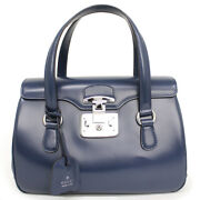 Pre-owned 331827 Lady Lock Handbag Blue Leather Free Shipping