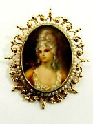 Fine Victorian Painted Miniature Portrait Seed Pearl Brooch 14k Signed Walter