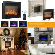 Costway 28.5 Fireplace Electric Embedded Insert Heater Glass Log Flame Remote F