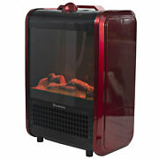 Comfort Zone Portable Electric Freestanding Tabletop Fireplace Space Heater, Red