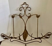 Wrought Iron 2 Plate Display Rack Wall Hanging Antique Gold Tone Scroll Leaves