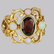 Vintage Garnet And Opal 9ct Gold Victorian Style Ring Ornate Antique Style Ring