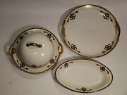 Vtg Meito Dayton Hand Painted China Japan Covered Butter Oval Bowl Cake Plate