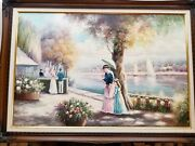 Vintage Oil On Canvas Painting Signed G. Closson With Frame Victorian Lakefront