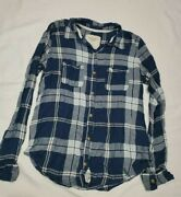 Abercrombie Fitch Womenand039s Button Down Shirt Small Viscose Plaid Blue