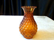 Vintage Art Deco Amber Quilted Glass Hurricane Lamp Shade Replacement Globe Mcm