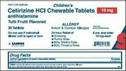 Sandoz Childrenand039s Cetirizine Hcl Chewable Tablets 10mg | 30 Ct | Pack Of 8