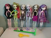 Monster High Doll Lot Of 6 Used With Brush And Stand