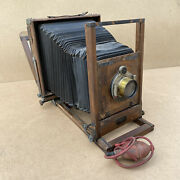 Eastman View No. 1 Improved Model 8x10 Wooden Camera W/ Brass Lens - Read