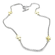 Konstantino 28 Sterling Silver/18k Gold Cross Necklace Retail 1,400 New