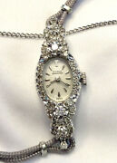 Croton Nivada Grenchen 14k White Gold Ladies Watch With Diamond Case